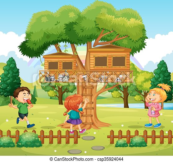 Three kids playing at the treehouse - csp35924044