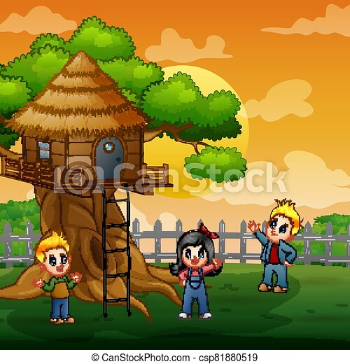 Three kids playing at the treehouse illustration - csp81880519
