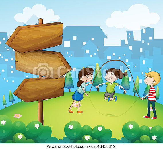 Three kids playing in the garden with wooden arrows - csp13450319