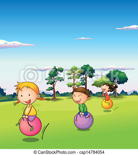 Three kids playing with the bouncing balls - csp14784054