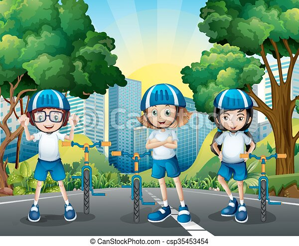 Three kids riding bicycle on the road - csp35453454