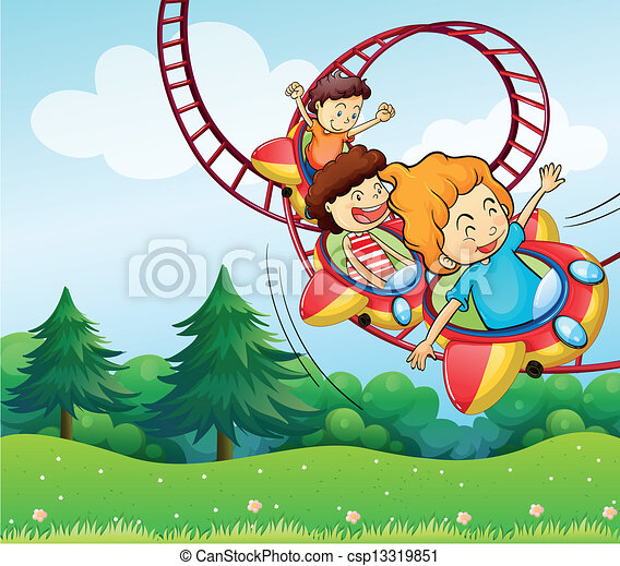 Three kids riding in the roller coaster - csp13319851