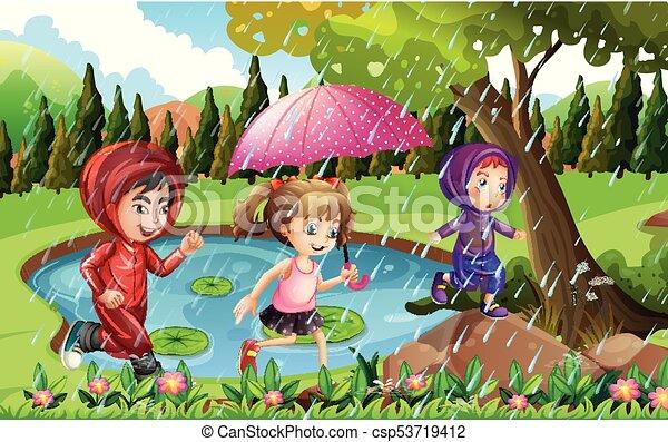 Three Kids Running In The Rain