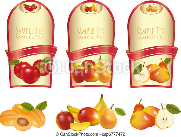 Three labels with different fruit - csp6777472