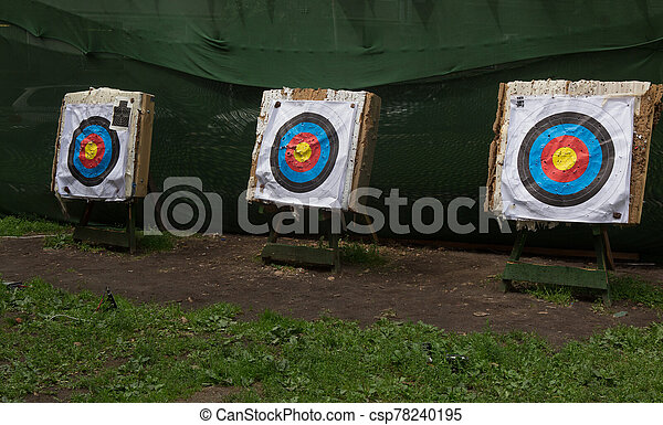 Three large archery targets at the dash - csp78240195