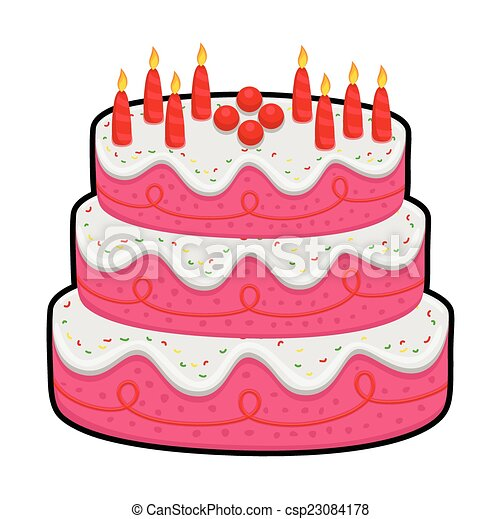 Three layer birthday cake Tasty delicious valentine vectors