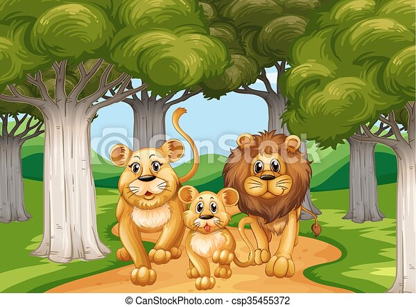 Three lions walking in the forest - csp35455372
