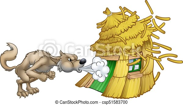three little pigs big bad wolf blowing straw house an illustration from the three little pigs clip art of pig pen clip art of pigs ears