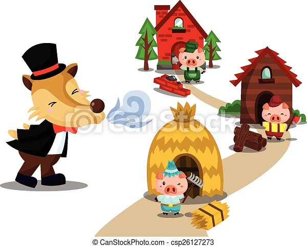 three little pigs rh canstockphoto com three little pigs clipart black and white three little pigs houses clipart