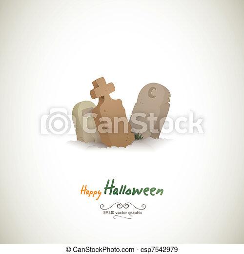 Three Lonely Halloween Graves - csp7542979