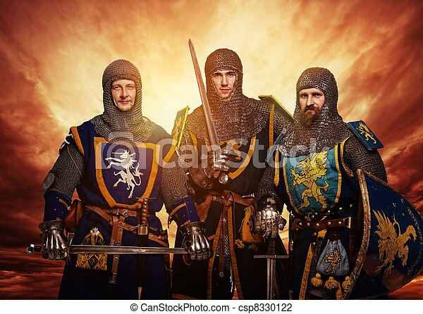 Three medieval knights against stormy sky. - csp8330122