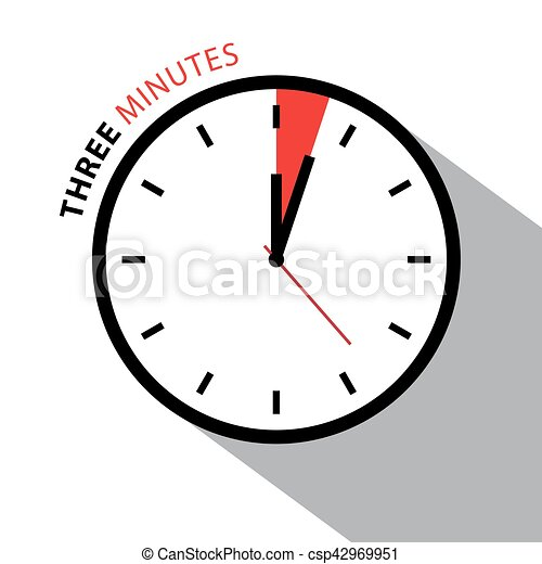 Three Minutes Clock. Stopwatch Countdown. Vector Clock Face Isolated on White Background. - csp42969951
