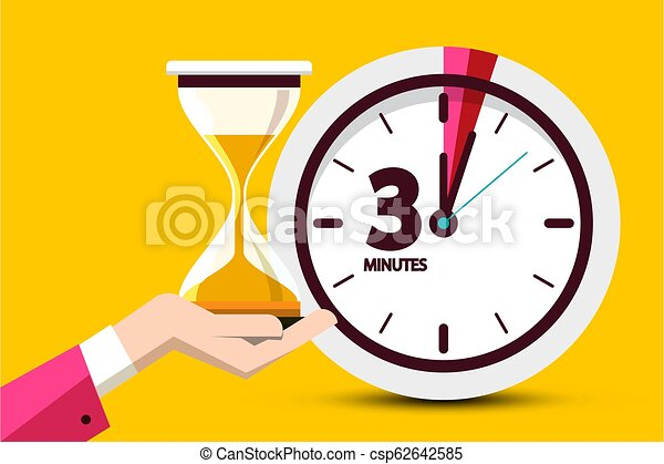 Three Minutes Countdown Design on Yellow Background. Vector Flat Design Time Symbol. Clock Hourglass Icon with 3 Minute Sign. - csp62642585