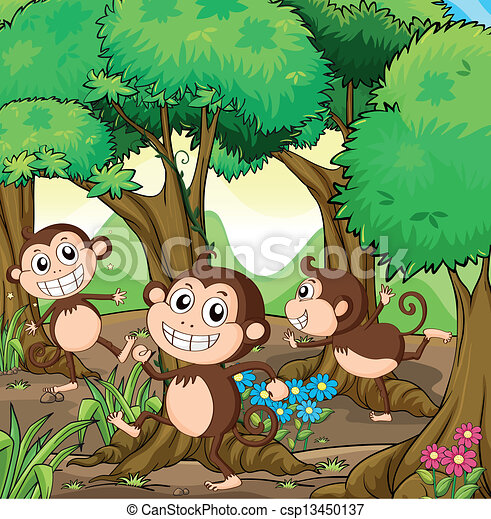 Three monkeys playing at the forest - csp13450137