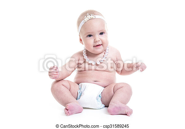 Three month baby on white background - csp31589245