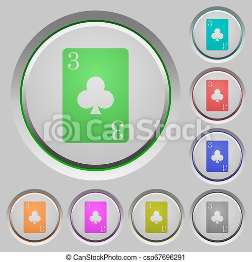 Three of clubs card push buttons - csp67696291