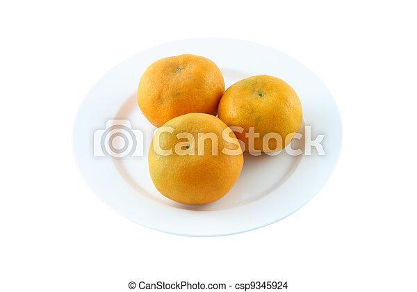 Three orange on dish on white background. - csp9345924