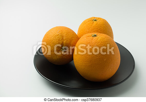 three orange on white background - csp37680937