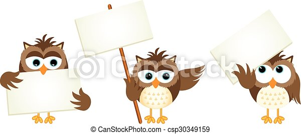 Three owls with signboards