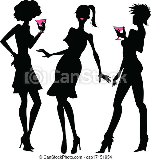 three party girls silhouettes three silhouettes of young clipart rh canstockphoto com