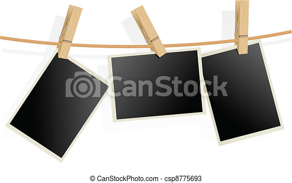 Three Photo Frames on Rope - csp8775693