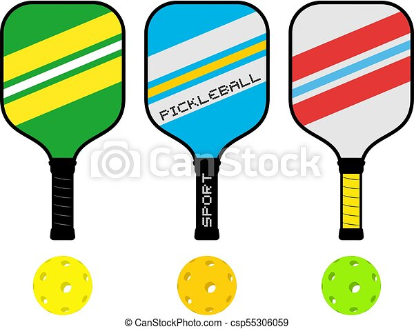 creative design of three pickleball rackets and balls clipart vector rh canstockphoto com pickleball clipart images pickleball clip art free images