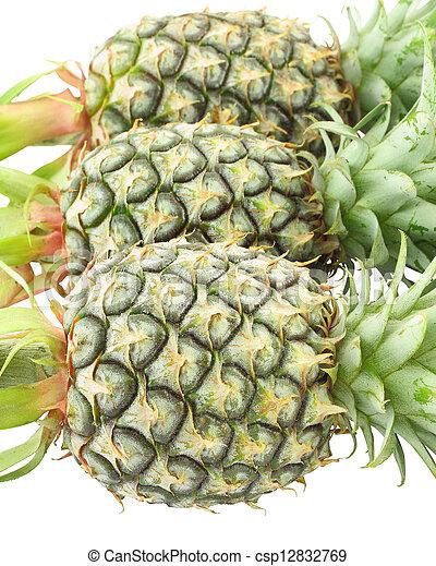 Three pineapple head on white background. - csp12832769