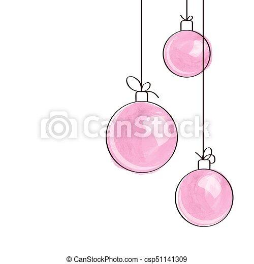 Pink Christmas Ornaments.Three Pink Watercolor Christmas Tree Ball Ornaments