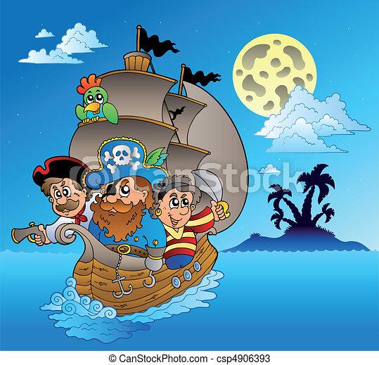 Three pirates and island silhouette - csp4906393