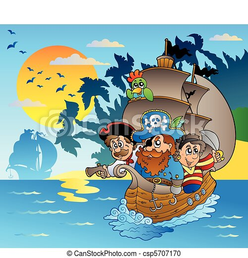 Three pirates in boat near island - csp5707170