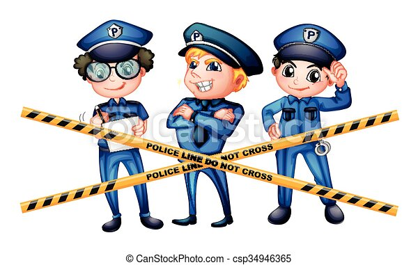 three policemen at the crime scene illustration clip art vector rh canstockphoto com crime prevention clipart images clipart crime scene