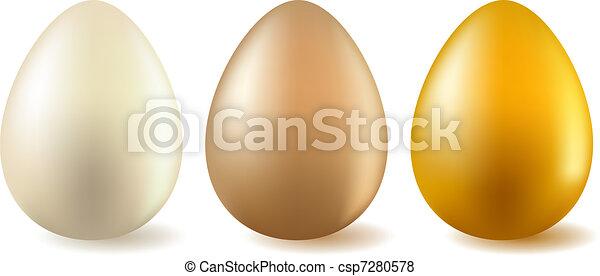 Three realistic eggs - csp7280578