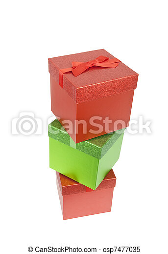 Three Red and Green Christmas Presents - csp7477035