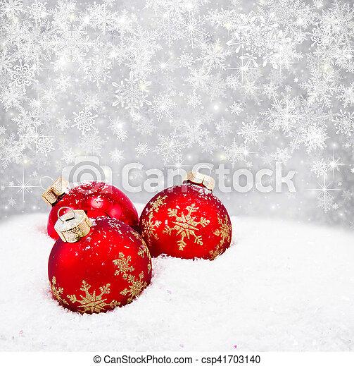 Three red christmas balls - csp41703140