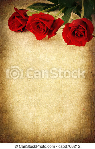 Three Red Roses over Grunge Background - csp8706212