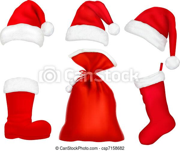 Three Red Santa Hats Christmas Stocking And Boot And Bag