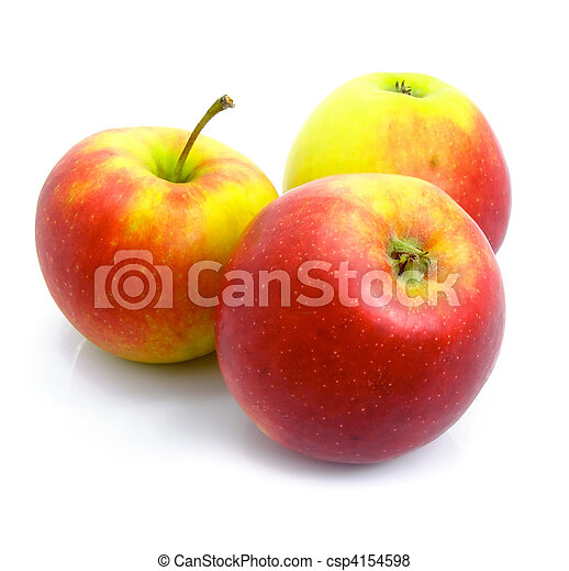 Three ripe by apples isolated - csp4154598