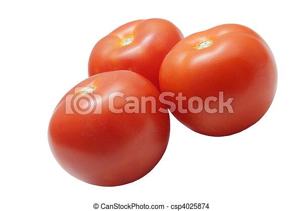 Three ripe tomatoes isolated on white background - csp4025874