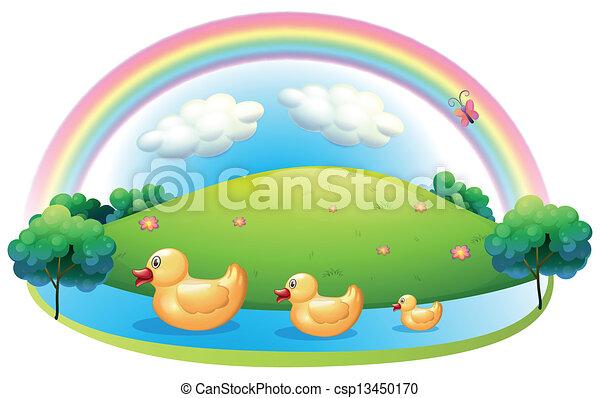 Three rubber ducks near the hill - csp13450170