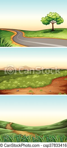 Three scenes with road in countryside - csp37833416