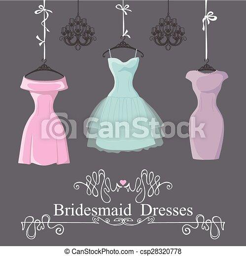 Three short bridesmaid dresses hang on ribbons. The... vectors ...