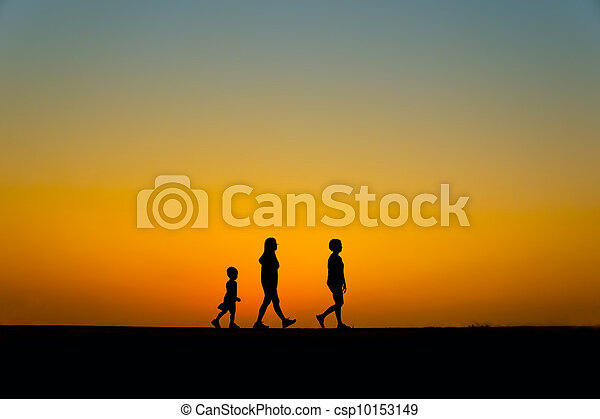 three silhouette people - csp10153149