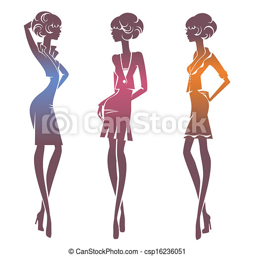 Three silhouette stylish girls - csp16236051