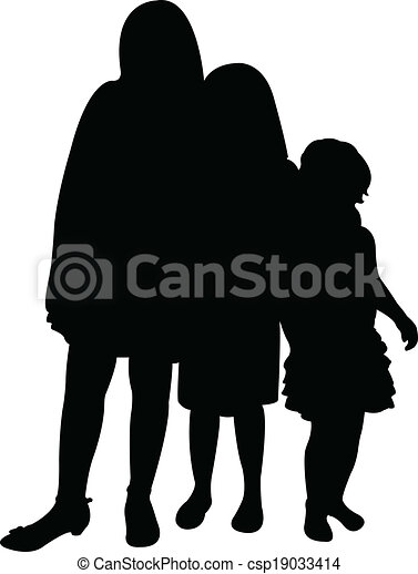 three sisters together silhouette  - csp19033414