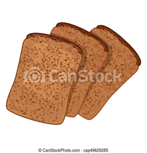 Three slices of wheat bread realistic style isolated illustration - csp49629285