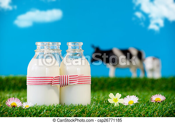 three small bottles of milk in a meadow  - csp26771185