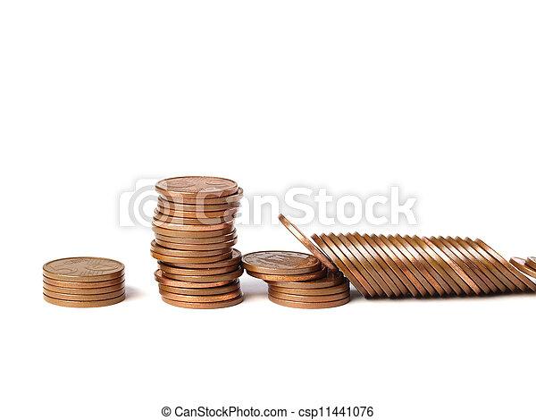 Three stacks of coins 3 - csp11441076