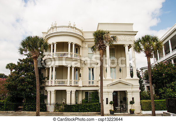 Three Story Columned Colonial - csp13223644