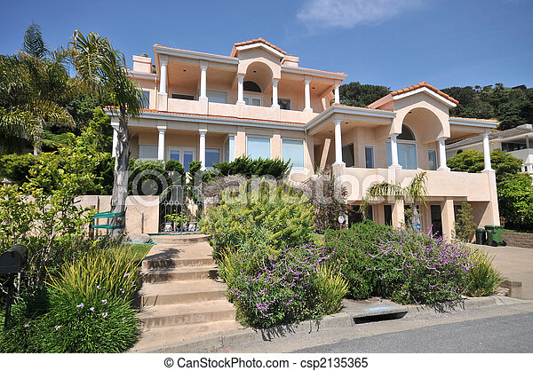 Three story house with lots of pillars. House with steps... stock ...