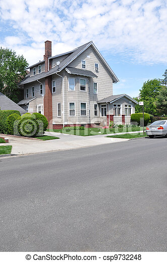 Three Story Tall Suburban Home - csp9732248